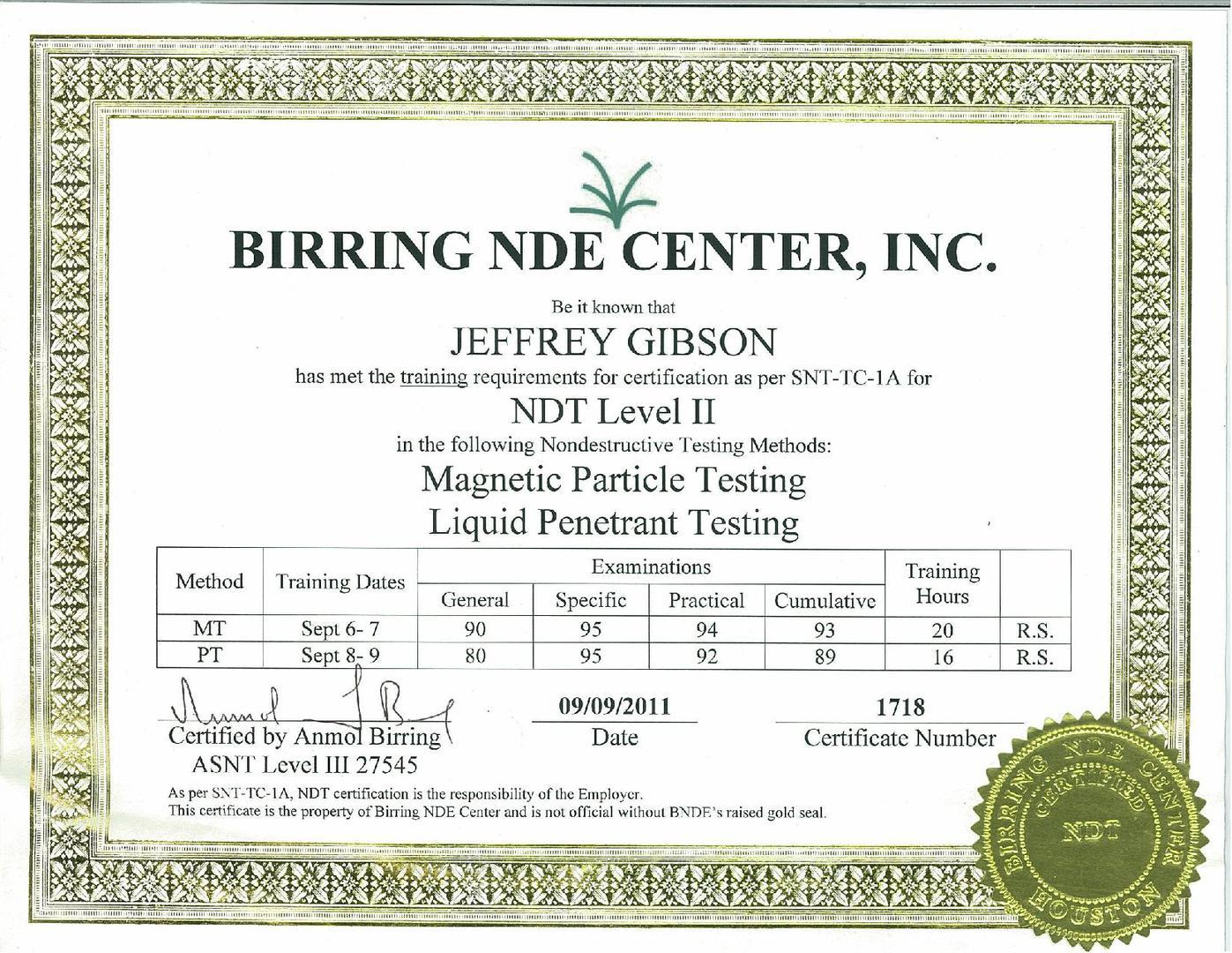 Jeffrey Gibson AWS Certified Welding Inspector & Nace Level 2